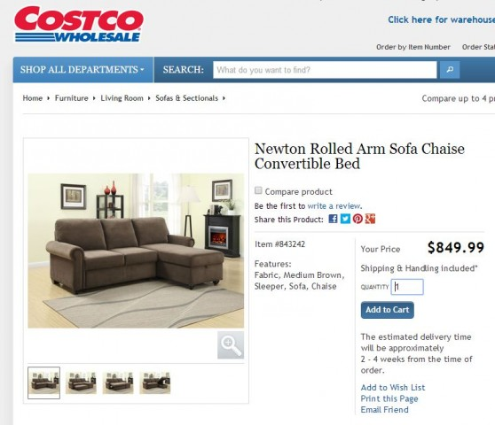 PUBLISHED 07/03/14: The rather popular Pulaski Newton Chaise Sofa Bed ...