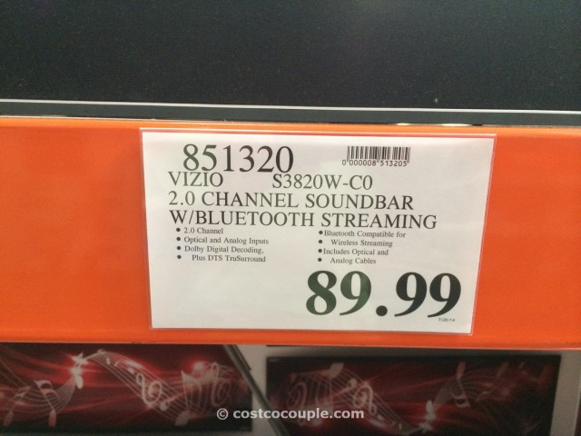 Vizio 2 Channel Soundbar with Bluetooth Costco 1