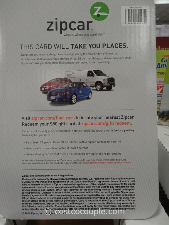 Gift Cards ZipCar Costco 3