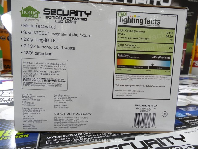 Security Motion Activated LED Light Costco 4