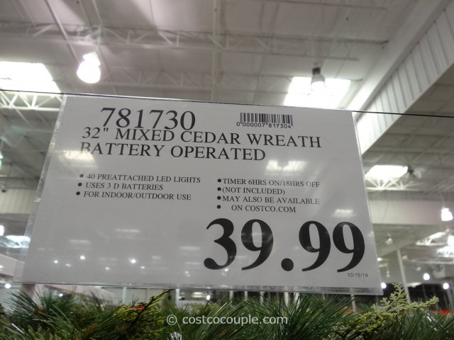 32-Inch Battery Operated Wreath Costco 4
