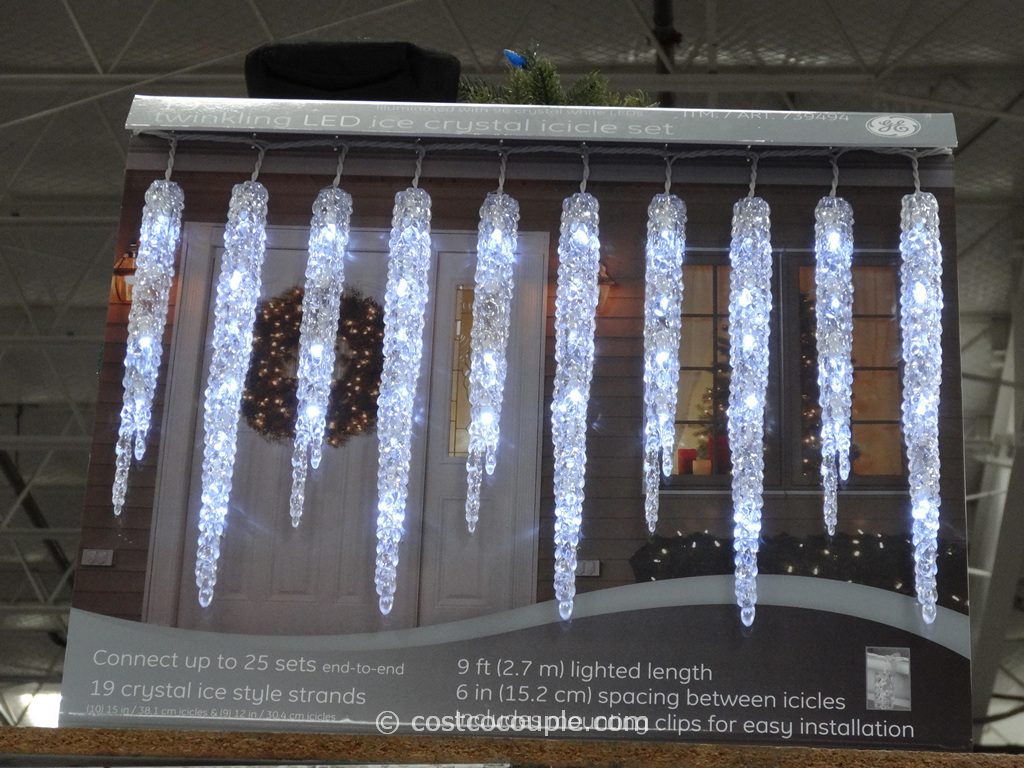 GE Twinkling LED Icicle Set Costco 3