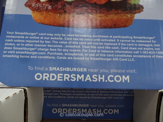 Gift Card Smash Burger Costco 3