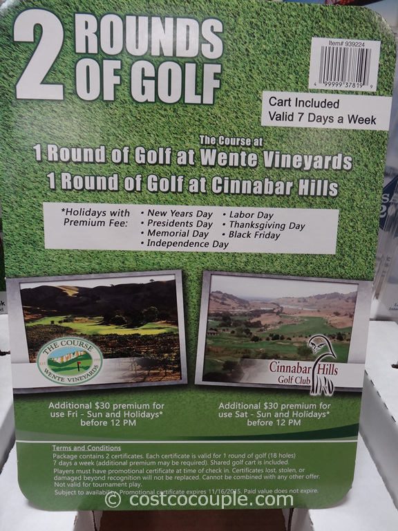 Gift Card Wente Vineyards and Cinnabar Hills Golf Costco 1