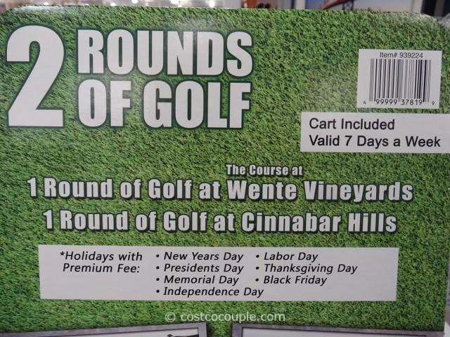 Gift Card Wente Vineyards and Cinnabar Hills Golf Costco 3