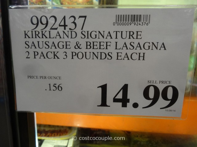 Kirkland Signature Sausage And Beef Lasagna Costco 1