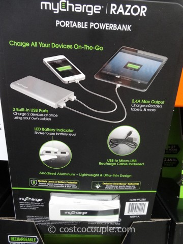 MyCharge Razor Portable Rechargeable Battery Pack Costco 3