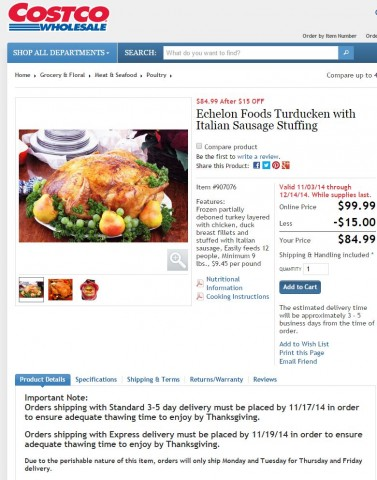 Echelon Foods Turducken Costco 4