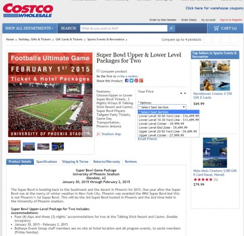 Super Bowl 2015 Ticket and Hotel Package Costco 2