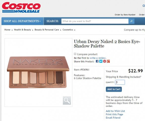 Urban Decay Naked 2 Basics Eyeshadow Costco 1