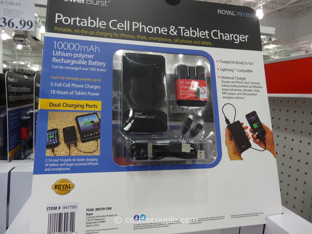 Royal Portable Cell Phone and Tablet Charger Costco 2