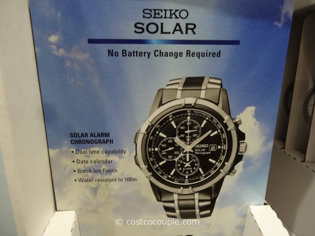 Seiko Solar Mens Chronograph Two Tone Black Watch Costco 2