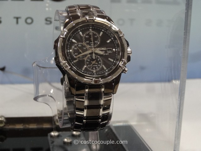 Seiko Solar Mens Chronograph Two Tone Black Watch Costco 3