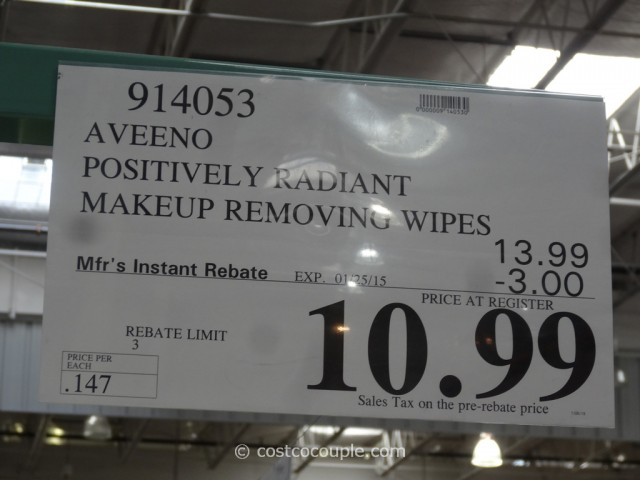 Aveeno Positively Radiant Makeup Removing Wipes Costco 4