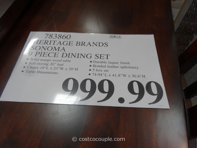 heritage brands sonoma dining set costco 1
