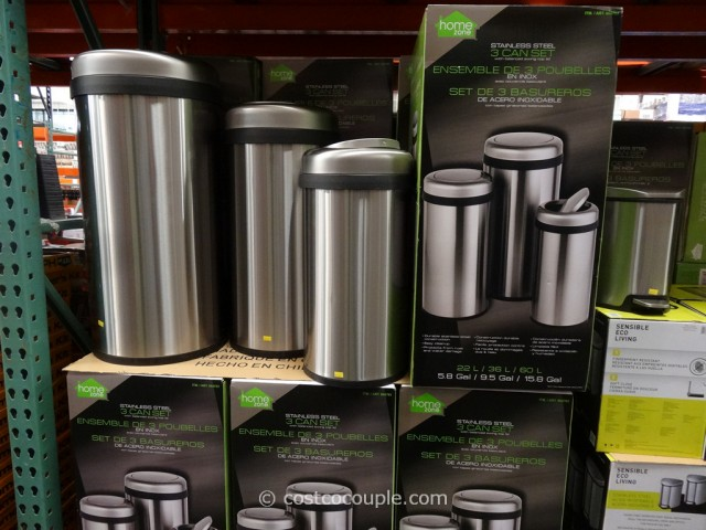 Home Zone Stainless Steel Trash Can Set