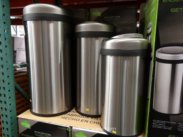 Home Zone Stainless Steel Trash Can Set Costco 4