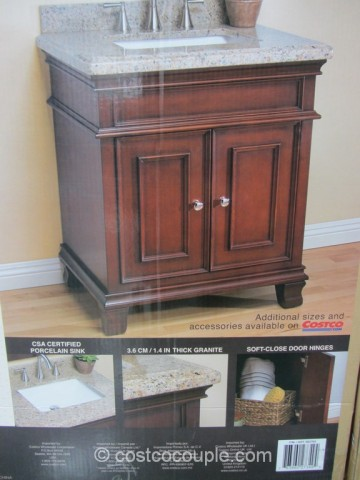 28-Inch Wood Vanity With Brazilian Granite Top Costco 3