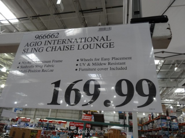 Agio international sling chaise lounge for Chaise lounge costco