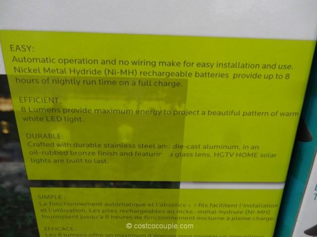 HGTV Large 8 Lumen Solar Pathway Lights Costco 4