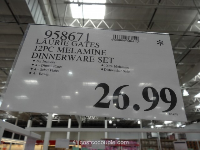 Laurie gates 12 piece melamine dinnerware set costco 1