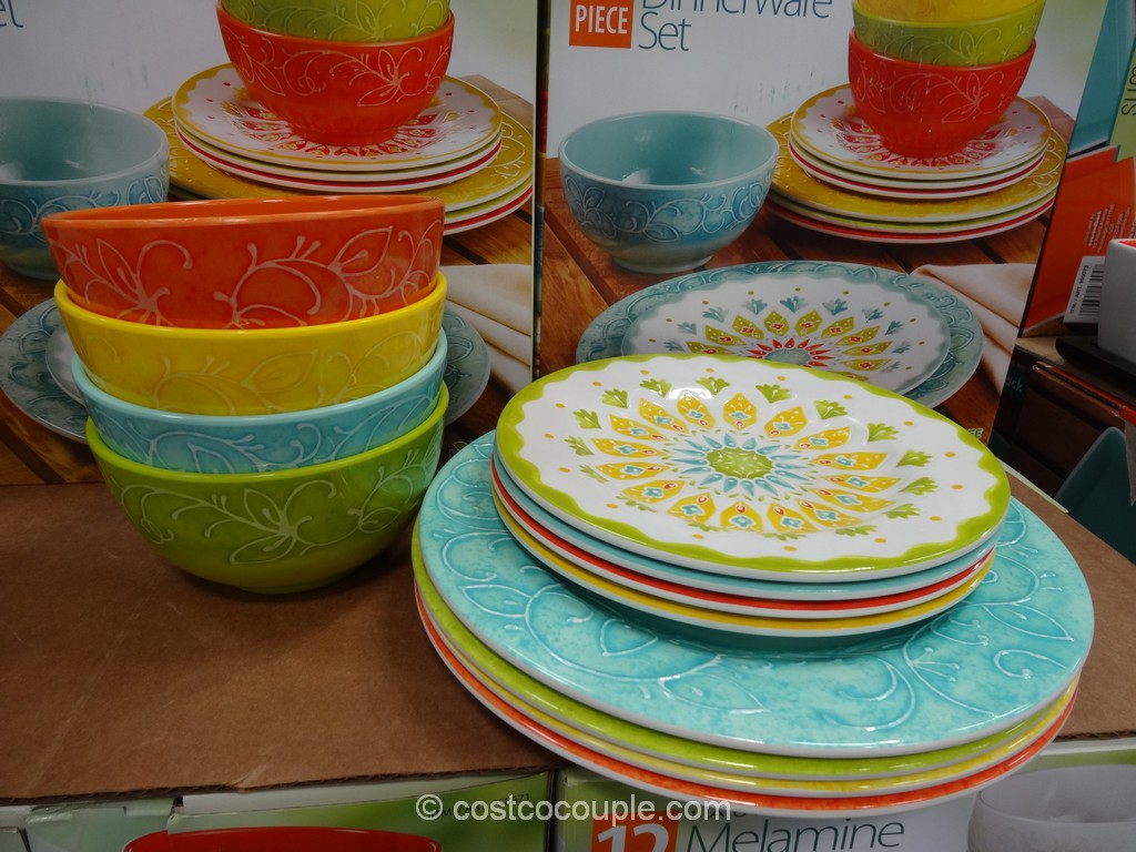Laurie Gates 12-Piece Melamine Dinnerware Set Costco 2