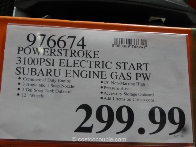 Subaru Electric Start Gas Pressure Washer Costco