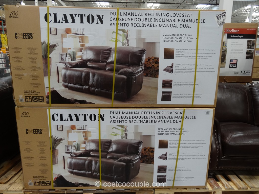 Cheers Clayton Motion Leather Loveseat Costco 2