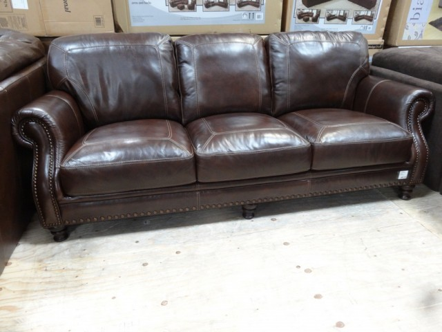 Simon Li Leather Sofa Brown Traditional