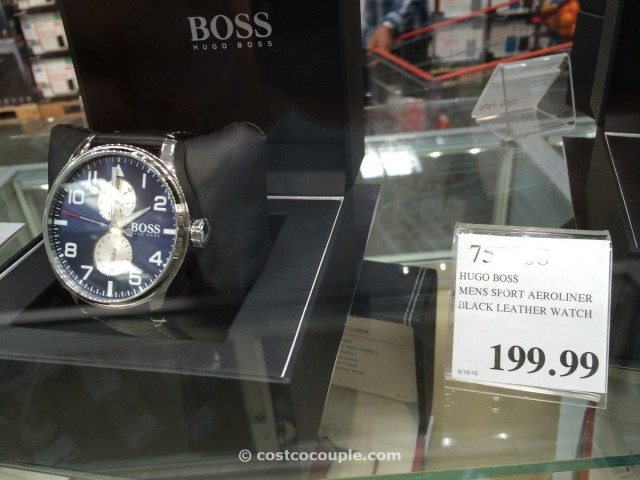 Hugo Boss Mens Sport Aeroliner Black Leather Watch Costco 1