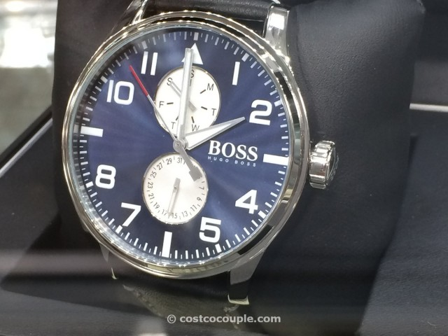 Hugo Boss Mens Sport Aeroliner Black Leather Watch Costco 3