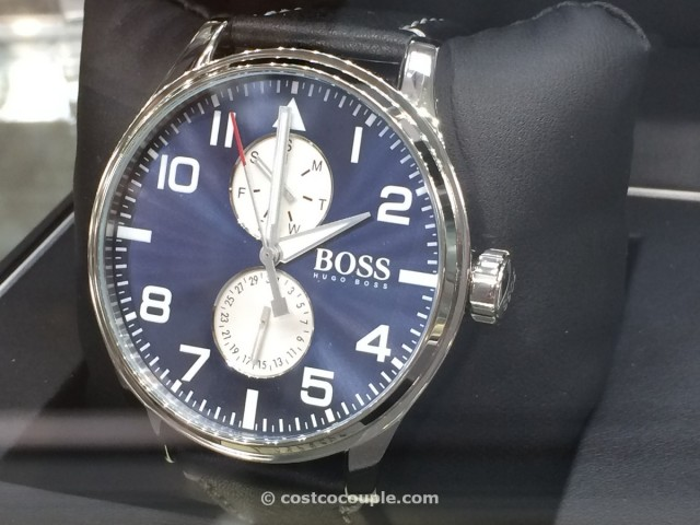 Hugo Boss Mens Sport Aeroliner Black Leather Watch Costco 4