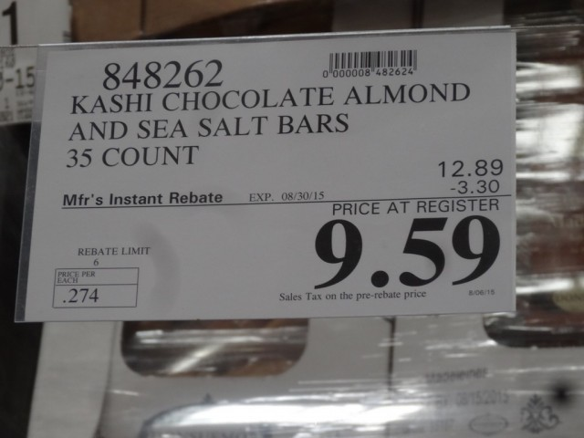 Costco Hotel Discounts >> Kashi Chocolate Almond and Sea Salt Bars