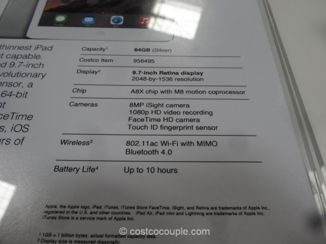 iPad Air 2 64 GB Costco 3