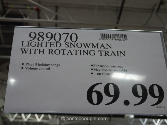 Lighted Snowman With Rotating Train Costco 1