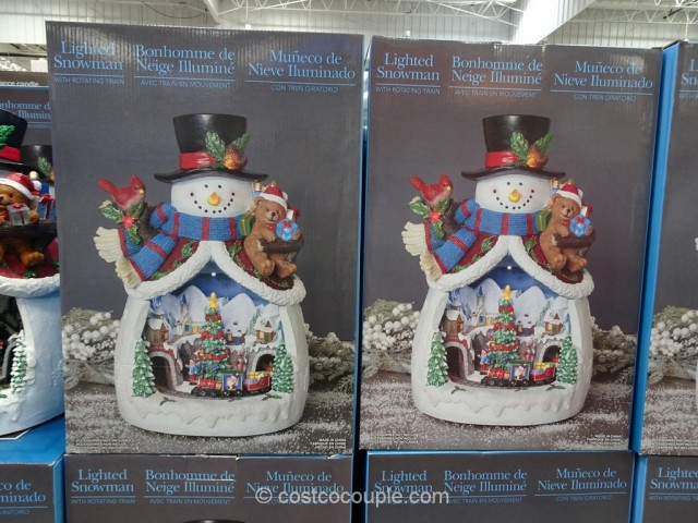 Lighted Snowman With Rotating Train Costco 2
