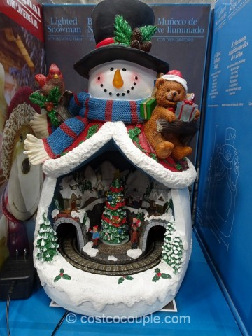 Lighted Snowman With Rotating Train Costco 3