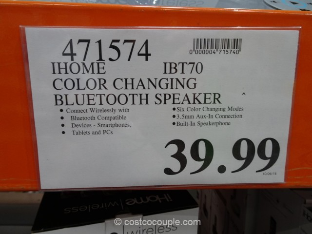 iHome Color Changing Bluetooth Speaker Costco 2