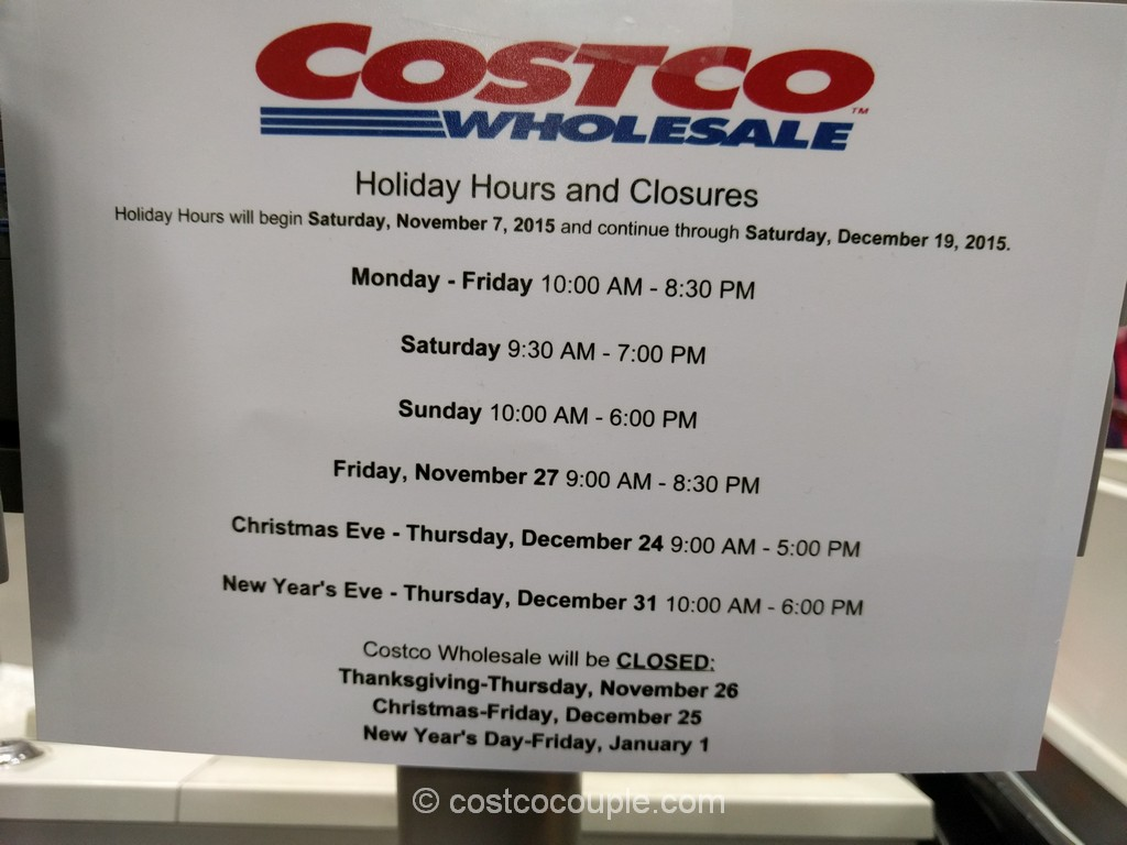 Costco 2015 Holiday Hours