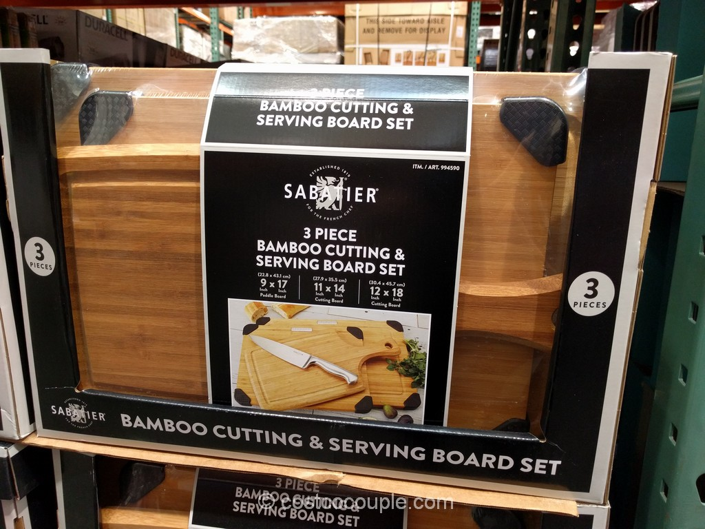 Sabatier 3-Piece Bamboo Cutting and Serving Board Set Costco 2
