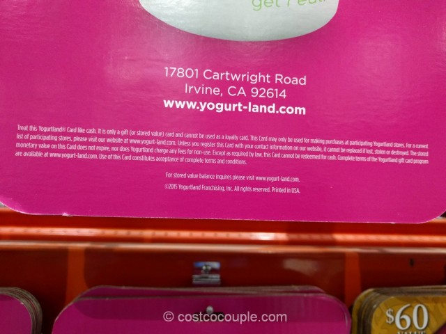 Gift Card Yogurtland Costco 3