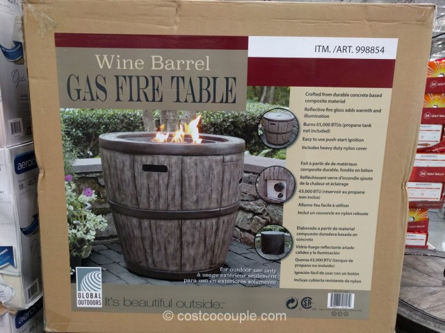 Global Outdoors 27-Inch Gas Fire Table Costco 3