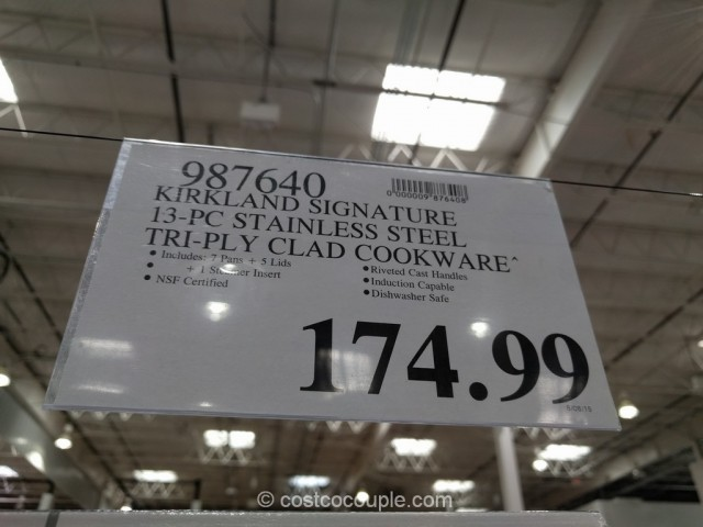 Kirkland Signature 13-Piece Stainless Steel Tri-Ply Clad Cookware Set Costco 1