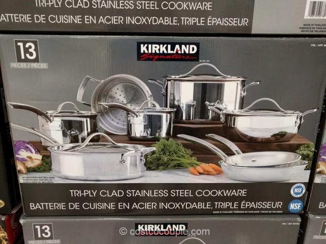 Kirkland Signature 13-Piece Stainless Steel Tri-Ply Clad Cookware Set Costco 2