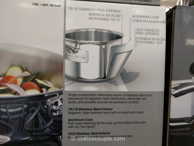 Kirkland Signature 13-Piece Stainless Steel Tri-Ply Clad Cookware Set Costco 3