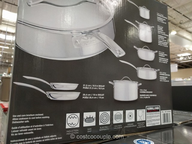 Kirkland Signature 13-Piece Stainless Steel Tri-Ply Clad Cookware Set Costco 4