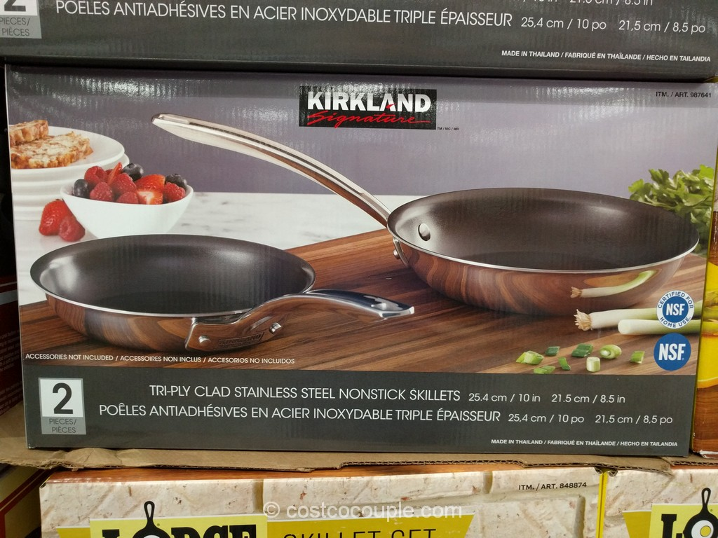 Kirkland Signature Stainless Steel Tri-Ply Clad Skillets Costco 2