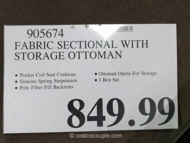 Fabric Chaise Sofa With Storage Ottoman Costco 1