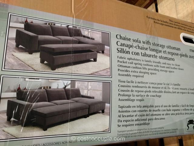 Fabric Chaise Sofa With Storage Ottoman Costco 5