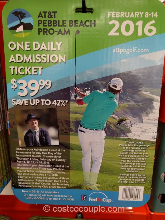 Gift Card AT&T Pebble Beach Pro-Am One Admission Ticket Costco 2